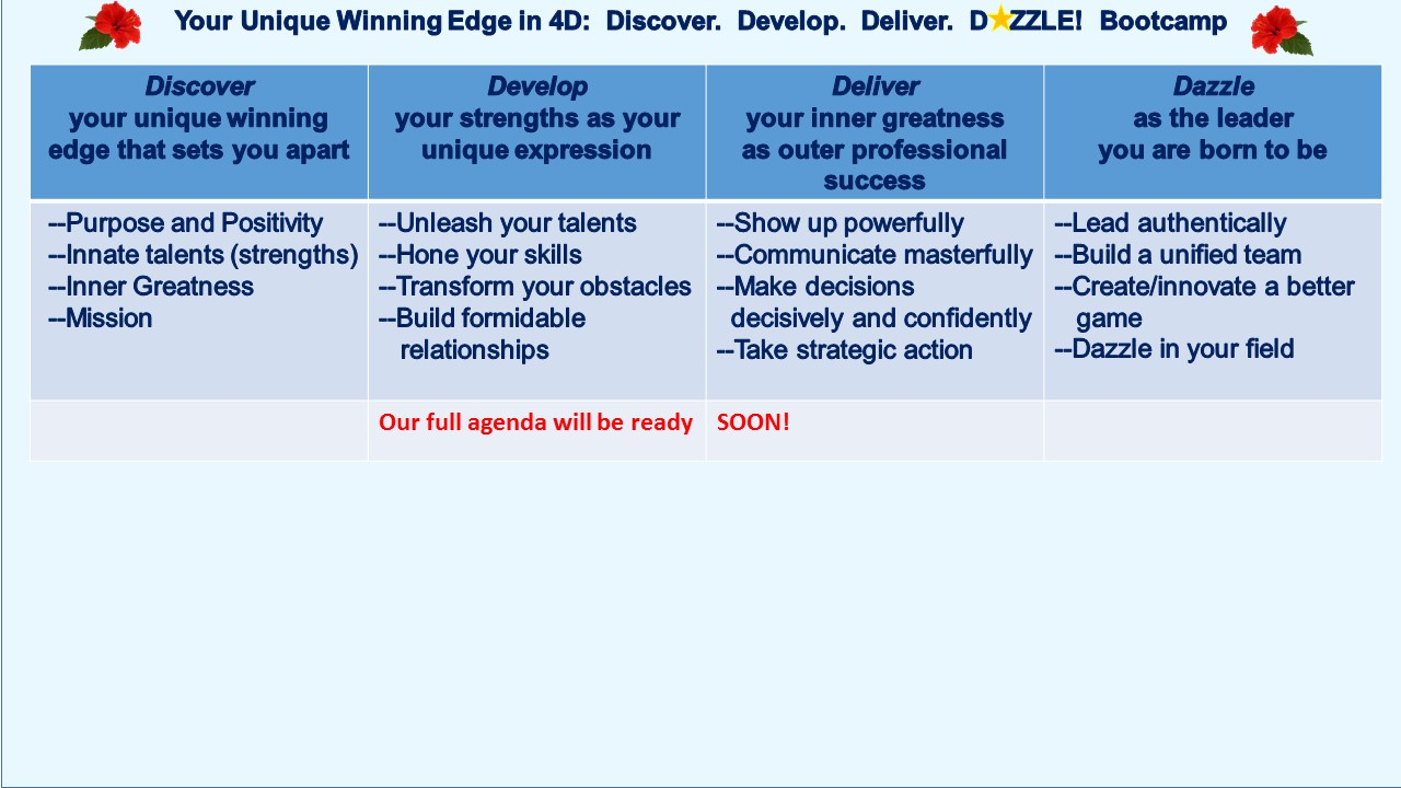 Winning Edge Executive Women's Bootcamp Discover Develop Deliver Dazzle Dominate