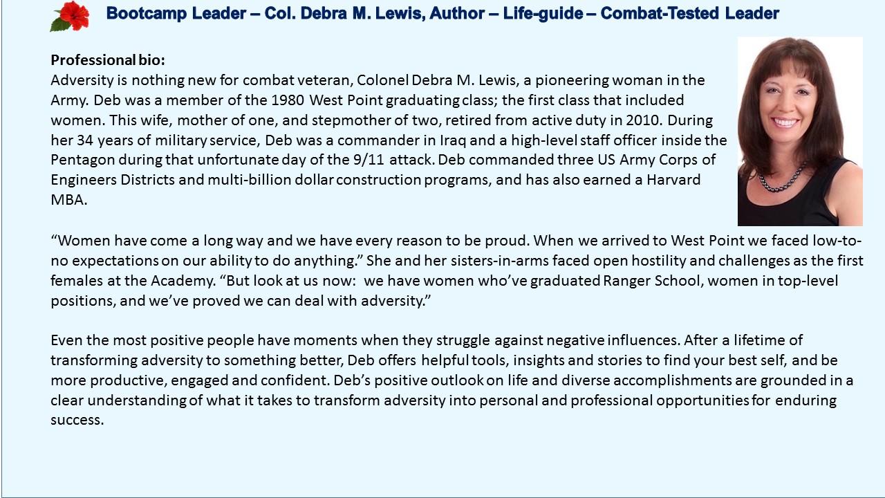 Col. Debra Lewis, combat veteran, Mentors that Matter,