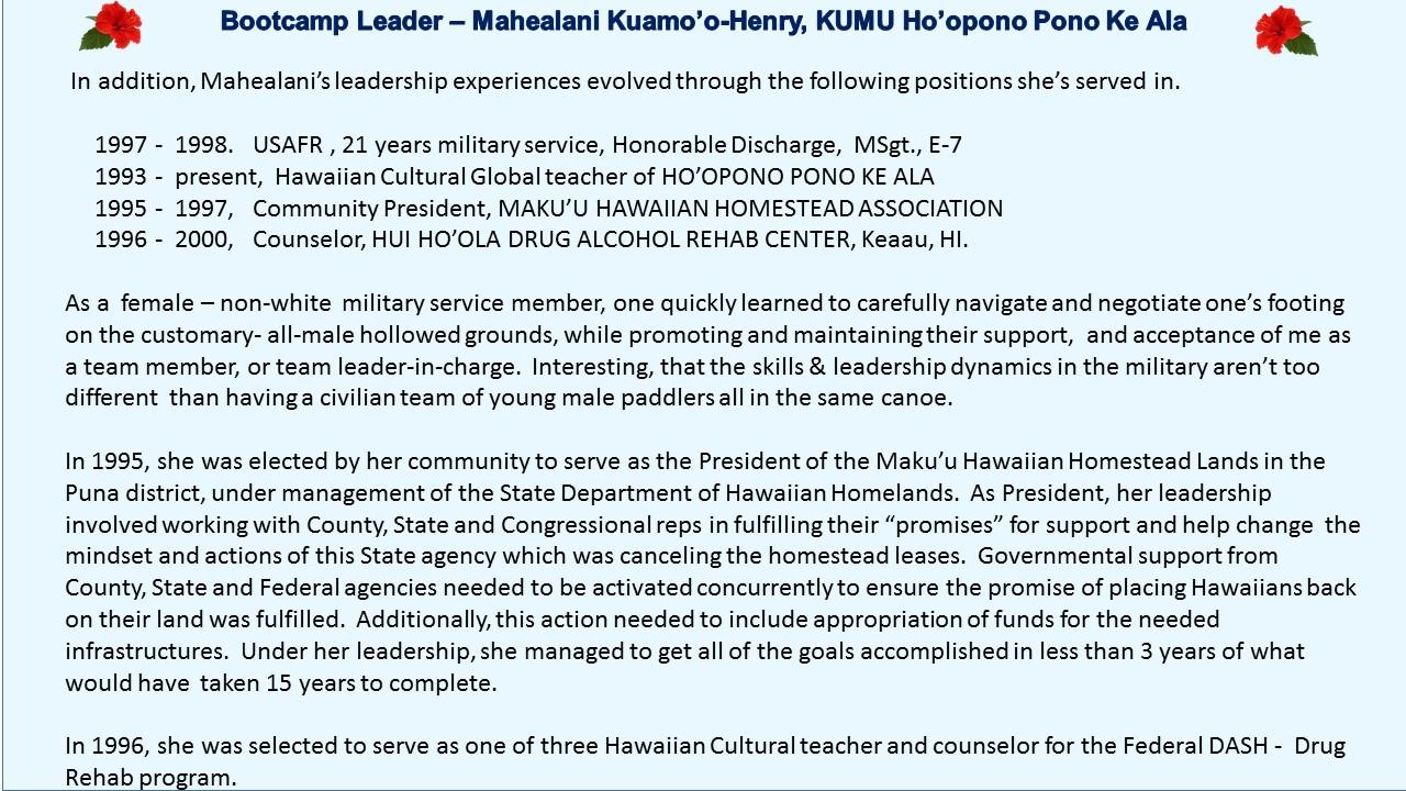 Kumu Mahealani Huamo'o Henry Ho'opono Pono Aloha aunty