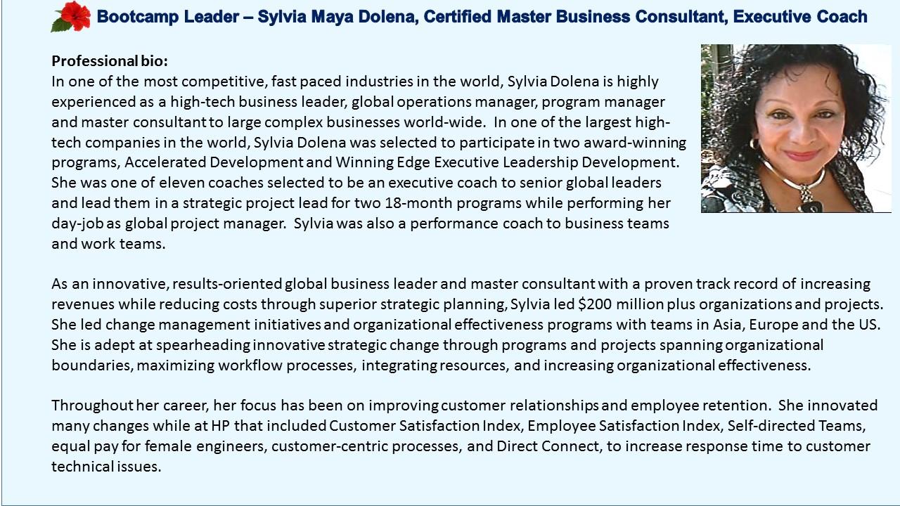 Winning Edge Executive Women's Leadership Sylvia Maya Dolena Consultant Executive Coach Big Island Hawaii Kilauea Volanco
